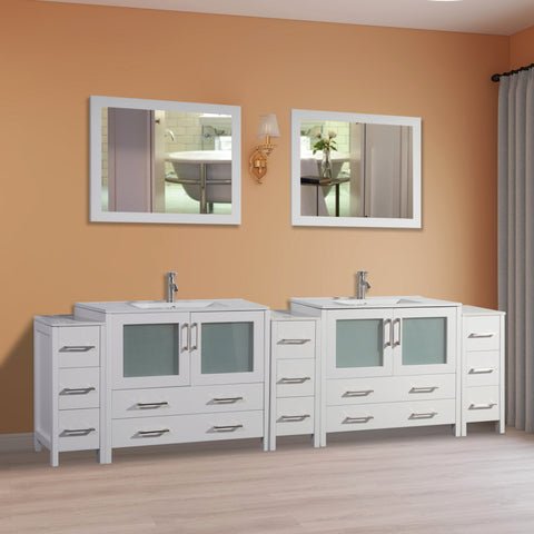 Stone Top 108-inch Bathroom Vanity with Matching Framed Mirror