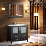 36 Inches Single Sink Modern Bathroom Vanity Compact Set 1 Shelf 2 Drawers Ceramic Top and Bathroom Cabinet with Free Mirror VA3036