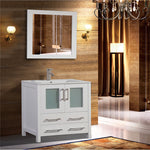 36-inch Single Sink Modern Bathroom Vanity Compact Set 1 Shelf 2 Drawers - Ceramic Top & Bathroom Cabinet with Free Mirror - VA3036