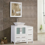 36-inch Single Sink Bathroom Vanity Combo Set 5-Drawers, 1-Shelf, 2 Cabinet White Quartz Top and Ceramic Vessel Sink Bathroom Cabinet with Free Mirror - VA3124-36