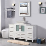 48-inch Single Sink Bathroom Vanity Combo Set 8-Drawers, 1-Shelf, 3 Cabinet White Quartz Top and Ceramic Vessel Sink Bathroom Cabinet with Free Mirror - VA3124-48