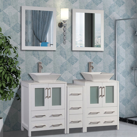 60-inch Double Sink Bathroom Vanity Combo Set 7 Drawers, 2 Shelves, 3 Cabinets White Quartz Top and Ceramic Vessel Sink Bathroom Cabinet with Free Mirrors - VA3124-60
