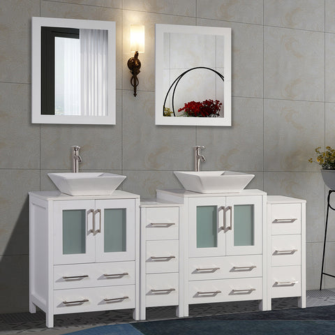 72-Inch Double Sink Bathroom Vanity Combo Set 10-Drawers, 2 Shelves, 4 Cabinets White Quartz Top and Ceramic Vessel Sink Bathroom Cabinet with Mirrors - VA3124-72