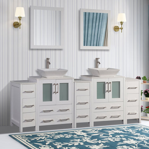 Stone Top 84-inch Double Bathroom Vanity with Matching Framed Mirror