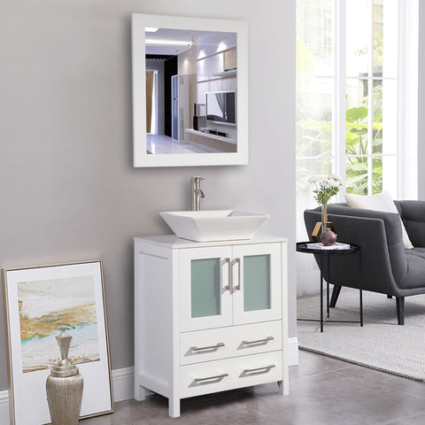 24-Inch Single Sink Bathroom Vanity Combo Set 2-Drawers, Single Shelf, Single Cabinet White Quartz Top and Ceramic Vessel Sink Bathroom Cabinet with Mirror - VA3124