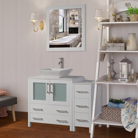 42-inch Single Sink Bathroom Vanity Combo Set 5-Drawers, 1-Shelf, 2 Cabinet White Quartz Top and Ceramic Sink Bathroom Cabinet with Free Mirror - VA3130-42