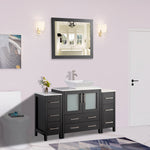 54 Inches Single Sink Bathroom Vanity Combo Set 8 Drawers 1 Shelf 3 Cabinets Quartz Top and Ceramic Sink Bathroom Cabinet with Mirror VA3130-54