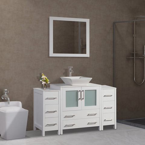 54-inch Single Sink Bathroom Vanity Combo Set 8-Drawers, 1-Shelf, 3 Cabinet Quartz Top and Ceramic Sink Bathroom Cabinet with Mirror - VA3130-54