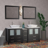 72 Inches Double Sink Bathroom Vanity Combo Set 7 Drawers 2 Shelves 3 Cabinets White Quartz Top and Ceramic Sink Bathroom Cabinet with Free Mirrors VA3130-72