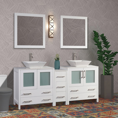 72-inch Double Sink Bathroom Vanity Combo Set 7 Drawers, 2 Shelves, 3 Cabinets White Quartz Top and Ceramic Sink Bathroom Cabinet with Free Mirrors - VA3130-72