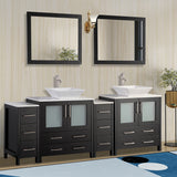 84-inch Double Sink Bathroom Vanity Combo Set 10-Drawers, 2-Shelves, 4 Cabinet Quartz Top and Ceramic Sink Bathroom Cabinet with Mirrors - VA3130-84