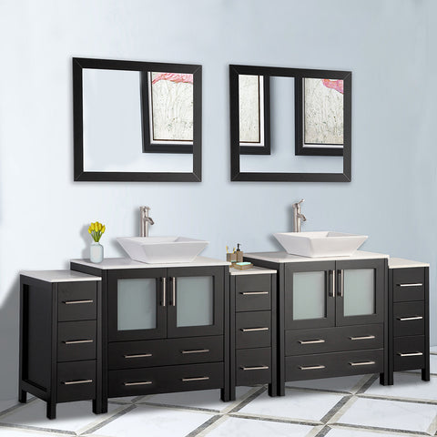 96-inch Double Sink Bathroom Vanity Combo Set 13-Drawers, 2-Shelves, 5 Cabinet Quartz Top and Ceramic Sink Bathroom Cabinet with Mirrors - VA3130-96