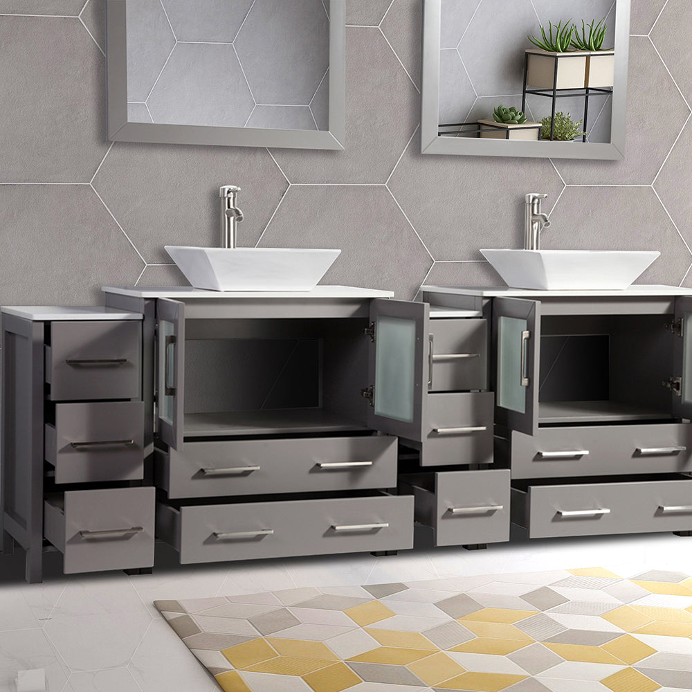 96 Inches Double Sink Bathroom Vanity Combo Set 13 Drawers 2 Shelves 5 Homebeyond