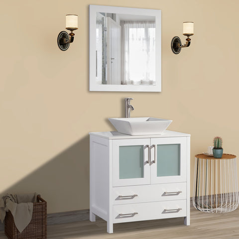 30 inch Single Sink Small Bathroom Vanity Set 2-Drawers, 1-Shelf Quartz Top and Ceramic Vessel Sink Bathroom Cabinet with Mirror - VA3130