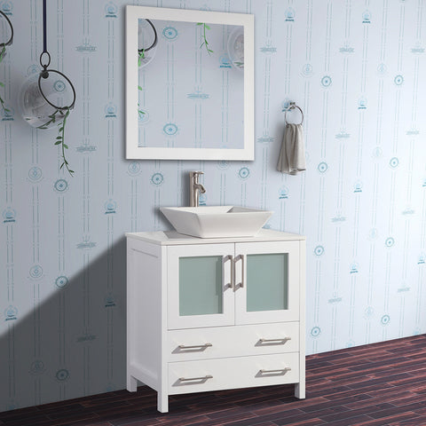 30 inch Single Sink Small Bathroom Vanity | Set 2-Drawers, 1-Shelf Quartz Top and Ceramic Vessel Sink Bathroom Cabinet with Mirror - VA3130