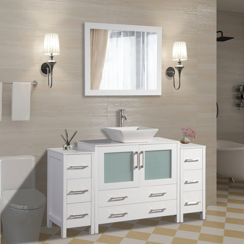 60-inch Single Sink Small Bathroom Vanity Set 8-Drawers, 1-Shelf Quartz Top and Ceramic Vessel Sink Bathroom Cabinet with Mirror - VA3136-60
