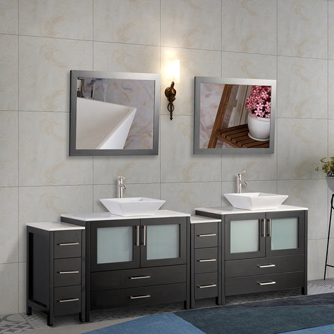 Stone Top 96-inch Bathroom Vanity with Matching Framed Mirror