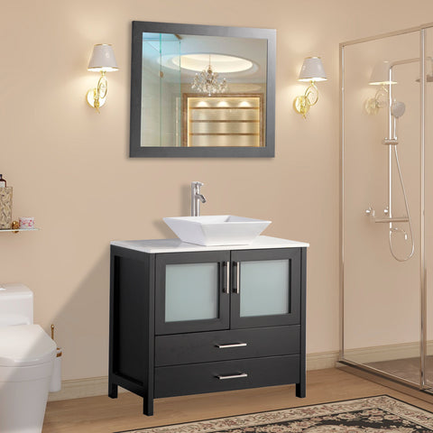 36 inch Single Sink Bathroom Vanity | Combo Set 2-Drawers, 1-Shelf, Single Cabinet White Quartz Top and Ceramic Sink Bathroom Cabinet with Free Mirror - VA3136