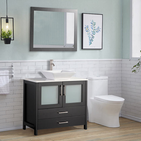 36 inch Single Sink Bathroom Vanity Combo Set 2-Drawers, 1-Shelf, Single Cabinet White Quartz Top and Ceramic Sink Bathroom Cabinet with Free Mirror - VA3136