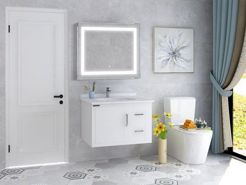 "39"" x 28"" LED Lighted Illuminated Bathroom Vanity Wall Mirror  Rectangle Bathroom Mirror with Touch Sensor on Front  - VA34"