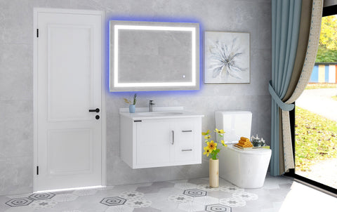 "39.3"" x 27.5"" Frameless LED Lighted Illuminated Bathroom Vanity Wall  Mirror with Touch Sensor, Horizontal Rectangle Blue and White Mirrors - VA52"