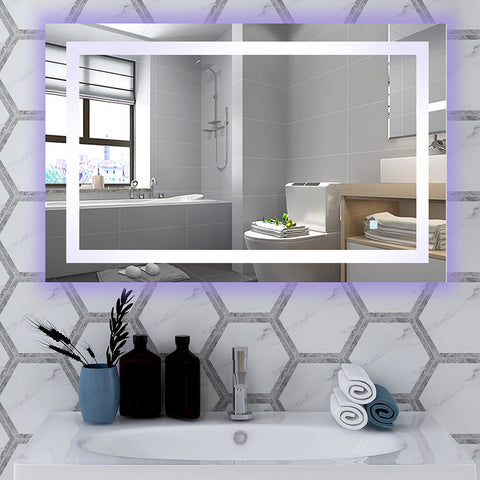"43"" x 28"" Frameless LED Lighted Illuminated Bathroom Vanity Wall Mirror with Touch Sensor, Horizontal Rectangle White Mirrors - VA52"