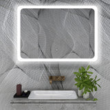 47 x 28 Inches Large Rectangular Frameless LED Lighted Bathroom Wall Mounted Vanity Mirror High Lumen 5500 K LED Color White with Touch Sensor VA59R
