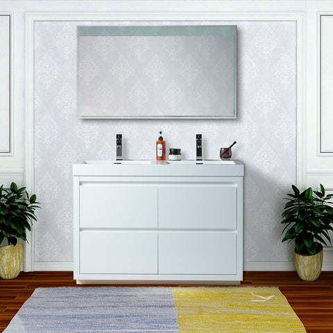 48-Inch Double Sink Floor-Standing Wall Mounted Bathroom Vanity Set | White Engineered Stone Top High-Glossy Finish - VA6048WF