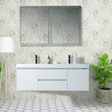 LED Lighted 60-inch Double Sink Wall Mounted Bathroom Vanity Set | White Engineered Stone Top High-Glossy Finish with Sensor Switch - VA6060DWL