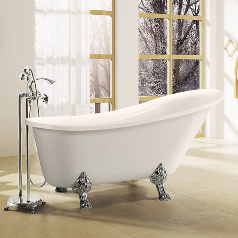 "69"" x 30"" Freestanding White Acrylic Bathtub 