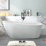 67-L/55-S Inch Freestanding Acrylic Bathtub Modern Stand Alone Soaking Tub with Polished Chrome Slotted overflow and Pop-up Drain - VA6522