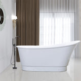 67.3 inch Freestanding Acrylic Bathtub | Modern Stand Alone Soaking Tub with Chrome Finish, UPC Certified, Round overflow & Pop-up Drain - VA6803