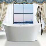 67 x 29 Inches Freestanding Acrylic Bathtub Modern Stand Alone Soaking Tub with Chrome Finish UPC Certified Slotted Overflow and Pop-up Drain VA6805
