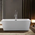 67-L/59-S Inch Freestanding White Acrylic Bathtub | UPC Certified Modern Stand Alone Soaking Tub with Polished Chrome Slotted Overflow & Pop-up Drain - VA6814-L/S