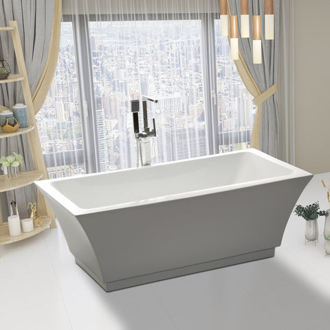 66.5 -L/59-S Inch Freestanding Acrylic Bathtub | Modern Stand Alone Soaking Tub with Chrome Finish Slotted Overflow & Pop-up Drain - VA6817-L/S