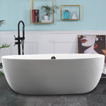 67 x 31 Inches Freestanding Acrylic Bathtub Modern Stand Alone Soaking Tub with Chrome Finish UPC Certified Round Overflow Pop-up Drain VA6833