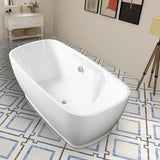 Freestanding White Acrylic Bathtub Modern Stand Alone Soaking Tub with Chrome Finish Round Overflow and Pop-up Drain VA6835-L/S