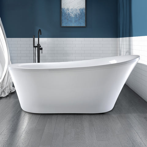 "70"" x 34"" Freestanding White Acrylic Bathtub 
