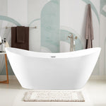 71-Inch Freestanding White Acrylic Bathtub | UPC certified Modern Stand Alone Soaking Tub with Polished Chrome Slotted Overflow & Pop-up Drain - VA6903