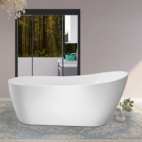 "59"" X 29"" Freestanding White Acrylic Bathtub 