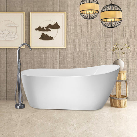 "67"" X 29"" Freestanding White Acrylic Bathtub 