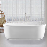 67-L/59-S Inch Freestanding White Acrylic Bathtub | Modern Stand Alone Soaking Tub with Polished Chrome Round Overflow & Pop-up Drain - VA6909-L/S