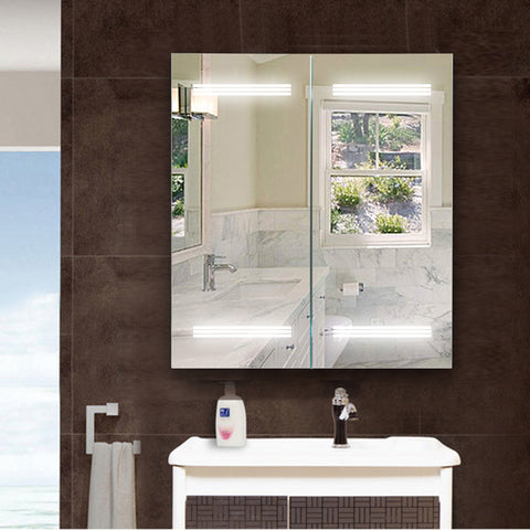 "26"" X 25"" Frameless LED Lighted Bathroom Vanity Wall Mirror 