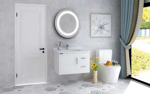 "24"" x 24"" Frameless LED Lighted Illuminated Bathroom Vanity Wall Mirror  Round Bathroom Mirror with Touch Sensor - VAR16"