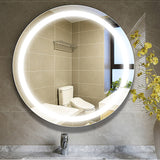 24 x 24 Inches Frameless LED Lighted Illuminated Bathroom Vanity Wall Mirror Round Bathroom Mirror with Touch Sensor VAR16