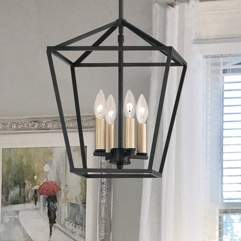 Farmhouse Vintage 4-Lights Lantern Metal LED Pendant Ceiling Light Fixture Antique Black Lantern Chandelier for Living Room Dining Room - 10524BK-BD