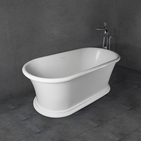 Freestanding Solid Surface Bathtub Soaking Tub with Matte White Finish UPC Certified Slotted Overflow and Pop-up Drain VA6916-ML/MS