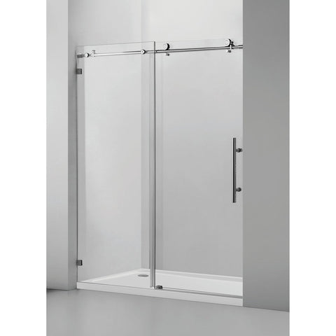 60 x 76 Inches Frameless Single Sliding Glass Barn Shower Door Chrome - VASSD6076CH