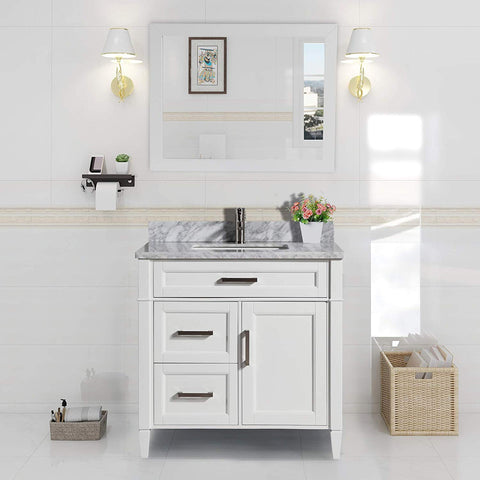 36 Inches Single Sink Bathroom Vanity Set Carrara Marble Stone Top 3 Drawers 1 Shelf Soft Closing Door Undermount Sink with Free Mirror VA2036