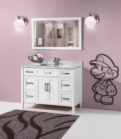 60-Inch Single Sink Bathroom Vanity Set  Carrara Marble Stone Top Soft Closing Doors Undermount Rectangle Sink with Free Mirror - VA2060